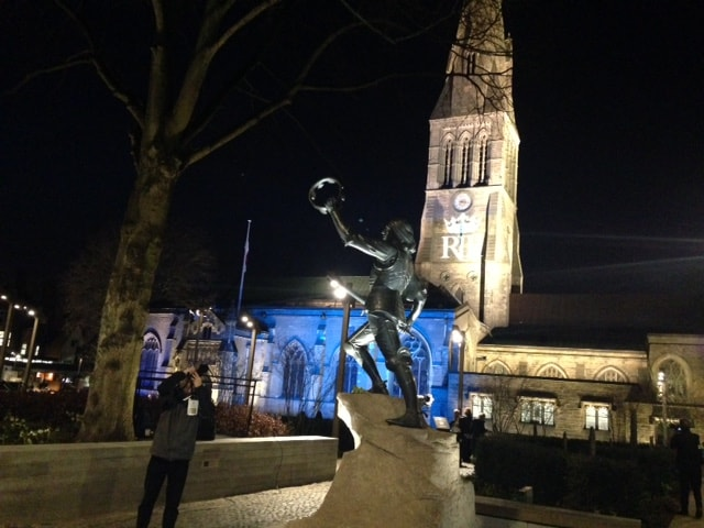 Leicester Cathedral with the new statue of Richard III after his remains had been taken there