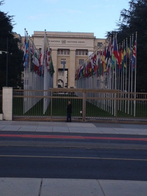 On our daily route to work - the HQ of the UN