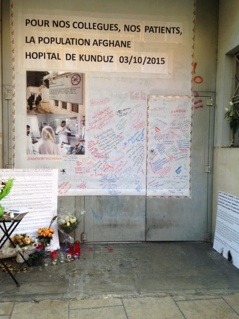 This is the HQ of Medicins Sans Frontieres, with a shrine to the victims of Kunduz